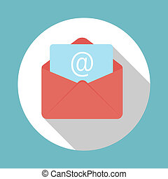 E-Mail Flat Icon with Long Shadow