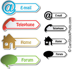 e-mail, forum, -, vektor, telefon, banner, daheim