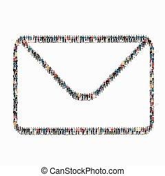e-mail, gens, lettre, icône