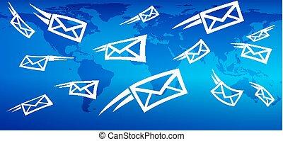 e-mail, globales marketing, hintergrund, web, messaging, schicken, post