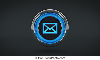 E-mail glossy icon, 3d rendering