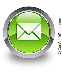 E-mail glossy icon - e-mail icon on glossy green round ...