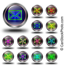 E-mail Glossy metallic buttons.