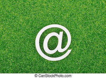 e-mail, herbe, signe