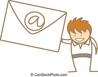 e-mail, homem, personagem, caricatura, obtendo