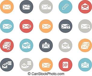 e-mail, icônes, classiques, ensemble, série