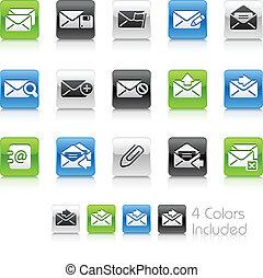 //, e-mail, icônes, propre, série