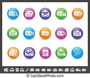 //, e-mail, icônes, série, arc-en-ciel