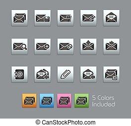 //, e-mail, icônes, satinbox, série