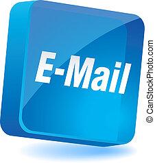 E-mail Icon. - E-mail 3d icon. Vector illustration.
