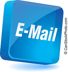 E-mail Icon. - E-mail 3d icon. Vector illustration.