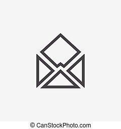 e-mail icon. - e-mail icon, on white background.