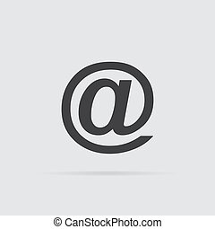 E-mail icon in flat style isolated on grey background.