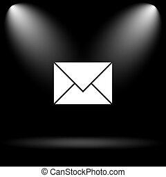 E-mail icon. Internet button on black background.