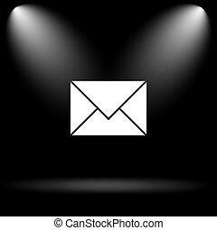 E-mail icon. Internet button on black background.