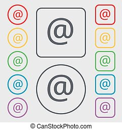 E-Mail icon sign. symbol on the Round and square buttons with frame. Vector