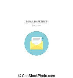 e-mail, icon., vektor, brief, in, wohnung, stil, -, internet marketing, concept.