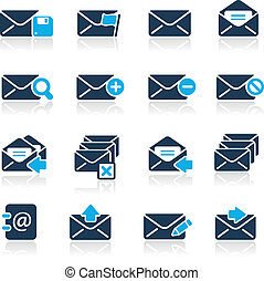 //, e-mail, iconen, hemelsblauw, reeks