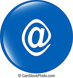e-mail, icono, brillante, botón, aislado, blanco