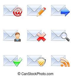 E-mail icons. - Set of nine coloured e-mail icons.