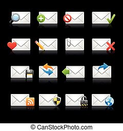 E-mail Icons - Set 1 -- Black - Vector Icons EPS 10-...