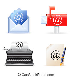Set of four realistic e-mail icons.