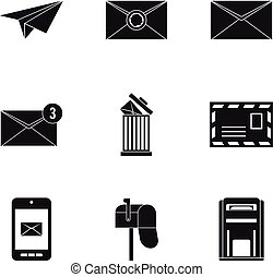 E-mail icons set, simple style