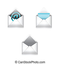 E-mail icons set - Vector e-mail icons set isolated on white...