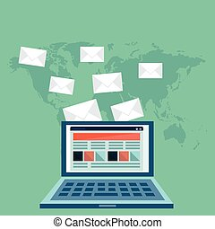 e-mail, ilustração, marketing
