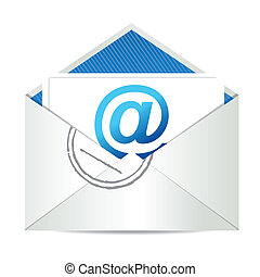E-mail letter illustration graphic design over a white ...
