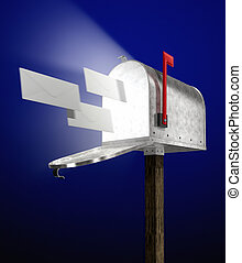 e-mail letters flying into a galvanized mailbox showing...