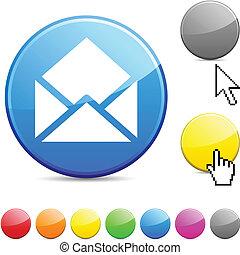 e-mail, lustroso, button.