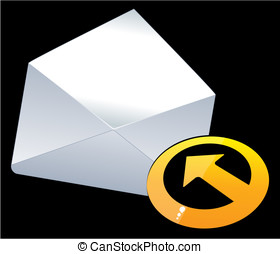 e-mail mark. - Three-dimensional letters and gold colored...