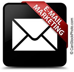 E-mail marketing black square button red ribbon in corner