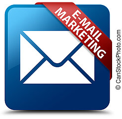 E-mail marketing blue square button red ribbon in corner