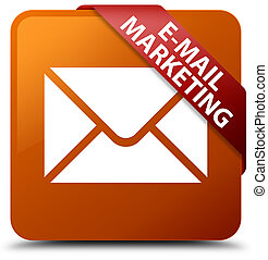E-mail marketing brown square button red ribbon in corner