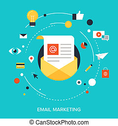E-mail Marketing. - Flat vector illustration concept of...
