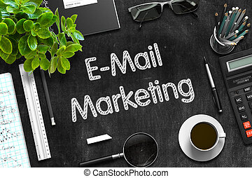 E-Mail Marketing Concept on Black Chalkboard. 3D Rendering.