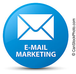 E-mail marketing cyan blue round button