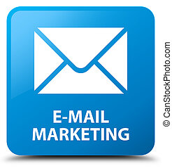E-mail marketing cyan blue square button