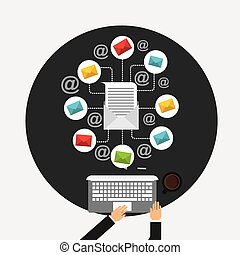 e-mail marketing design, vector illustration