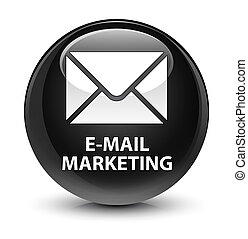 E-mail marketing glassy black round button