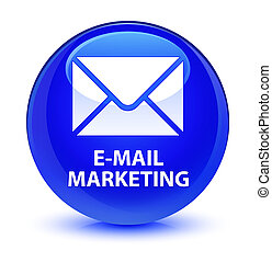 E-mail marketing glassy blue round button