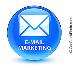 E-mail marketing glassy cyan blue round button