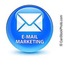 E-mail marketing glassy cyan blue round button