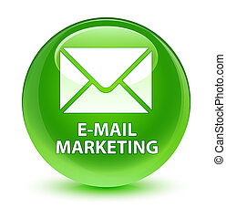 E-mail marketing glassy green round button