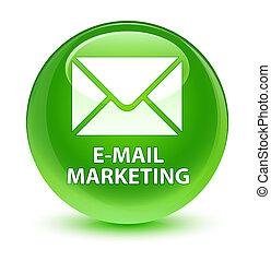 E-mail marketing glassy green round button