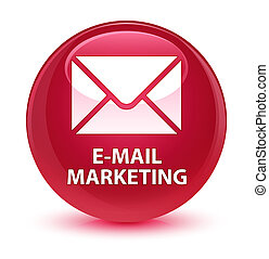 E-mail marketing glassy pink round button
