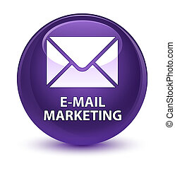 E-mail marketing glassy purple round button