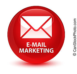 E-mail marketing glassy red round button